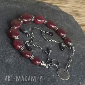 wyraziste bransoletki metaloplastyka bransoletka srebrna z rubinami