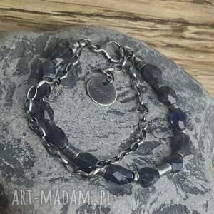 niesztampowe bransoletki metaloplastyka bransoletka srebrna z iolitami