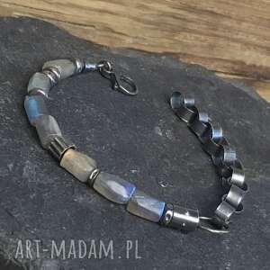hand-made bransoletki metaloplastyka bransoletka srebrna z labradorytami