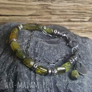 zielone bransoletki bransoletka-srebro bransoletka srebrna z zielonym