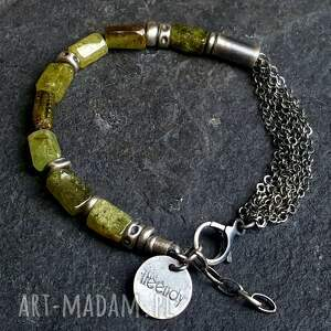handmade granat grossular bransoletka wykonana w całości ze srebra 925