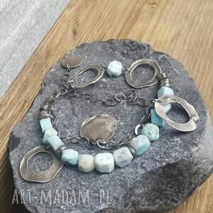 turkusowe bransoletki larimar-srebro bransoletka srebrna z larimarem