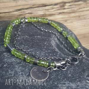 zielone metaloplastyka bransoletka srebrna z peridotami