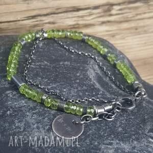 zielone bransoletki metaloplastyka bransoletka srebrna z peridotami
