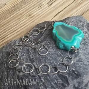 bransoletki plaster-agatu bransoletka srebrna z turkusowym
