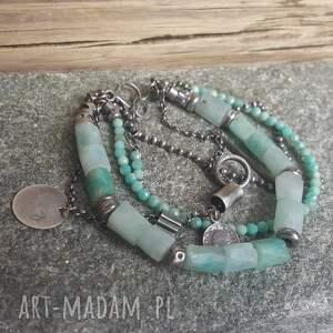 modna bransoletka srebrna z amazonitem