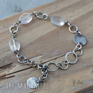 srebrne kryształ górski bransoletka srebrna z kryształem