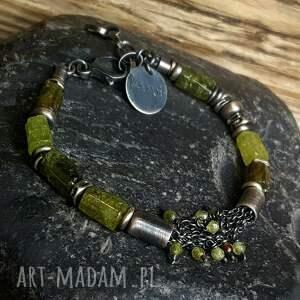 bransoletka srebro srebrna z zielonym