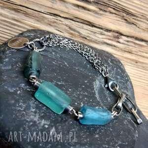 ręcznie wykonane bransoletka srebrna ze szkłem