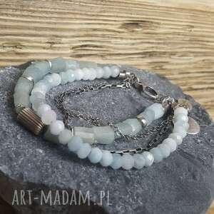 handmade bransoletki srebro-akwamaryn bransoletka srebrna z akwamarynami