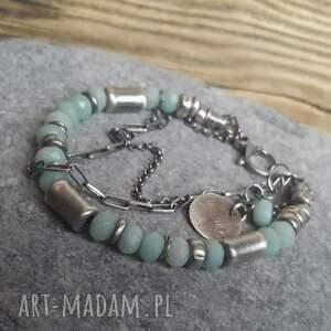 ręcznie zrobione bransoletki srebro-bransoletka bransoletka srebrna z amazonitem