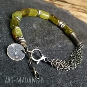 granat grossular bransoletka srebrna z zielonym