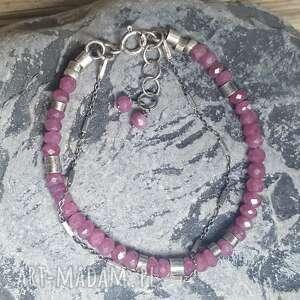 różowe bransoletki srebro-rubiny bransoletka srebrna z rubinkami