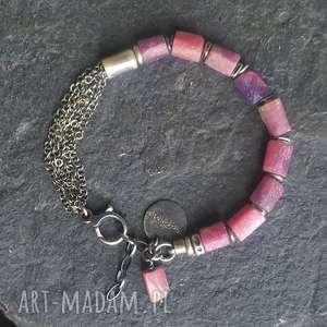 fioletowe srebro oksydowane bransoletka srebrna z rubinami