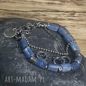 niebieskie metaloplastyka bransoletka srebrna z kianitami