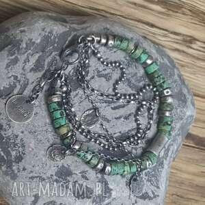 zielone bransoletki bransoletka-srebro bransoletka srebrna z turkusami