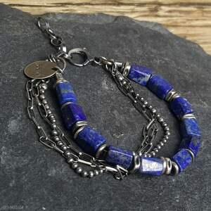 niebieskie bransoletka srebro srebrna z lapisem