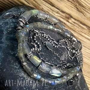 szare bransoletka srebro srebrna z labradorytami