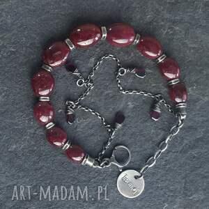 bransoletki srebro-oksydowane bransoletka srebrna z rubinami