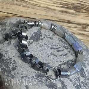 bransoletki srebro-oksydowane bransoletka srebrna z labradorytami