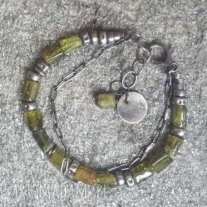 ręcznie robione bransoletki bransoletka-srebro bransoletka srebrna z zielonym