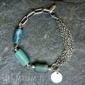 ręcznie wykonane szkło afgańskie bransoletka srebrna ze szkłem