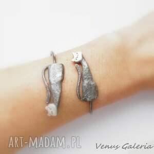 bransoletki srebro bransoletka srebrna - koty dwa