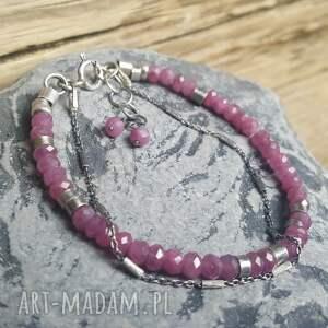 handmade bransoletki srebro-rubiny bransoletka srebrna z rubinkami