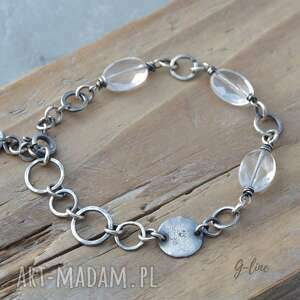 surowa bransoletka srebrna z kryształem