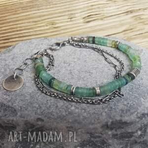 szkło afgańskie bransoletka srebrna z antycznym