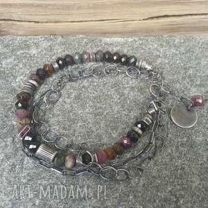 bransoletka srebro różowe srebrna z turmalinem
