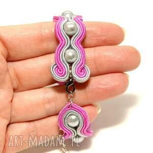 różowe soutache bransoletka sutasz z perełkami
