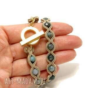 złote sznurek bransoletka sutasz z agatami