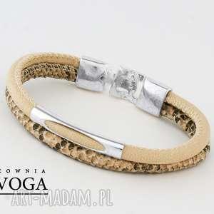 bransoletki bransoletka w kremie z motywem węża