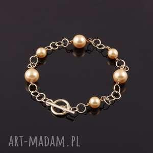 srebrne bransoletka z beżowych pereł