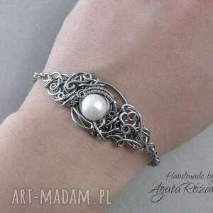 bransoletki perła bransoletka z białą perłą, wire
