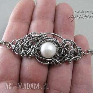 perła bransoletki bransoletka z białą perłą, wire