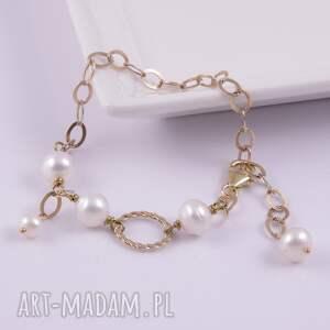 nietypowe bransoletki pozłacane bransoletka z białych pereł