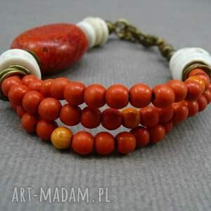 pomarańczowa pomarańczowe bransoletka z howlitów i mosiądzu