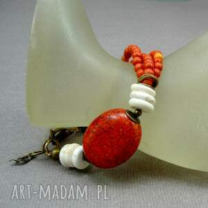 oryginalne pomarańczowa bransoletka z howlitów i mosiądzu