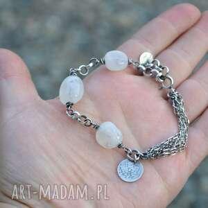 białe bransoletki srebro bransoletka z kamieniem księżycowym