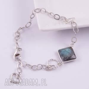 niebieskie bransoletki srebrna bransoletka z labradorytu 7