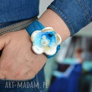 bransoletka z-lnu z lnu z ceramiką kwiat