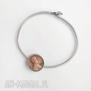 moneta czerwone bransoletka z monetą 1 cent usa