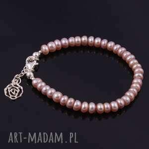 różowe bransoletki bransoletka z naturalnych pereł
