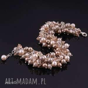 złote bransoletki perły bransoletka z pereł swarovski, ecru