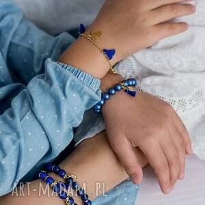 niebieskie bransoletki perły bransoletka z perełek swarovskiego