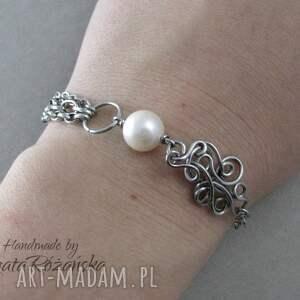 wire-wrapping bransoletki bransoletka z perłą naturalną, wire