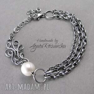 bransoletki wire-wrapping bransoletka z perłą naturalną, wire