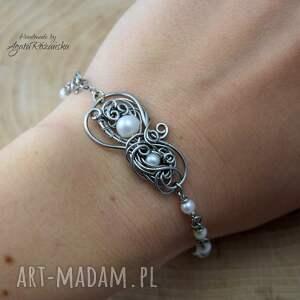 hand made bransoletka z perłami, perły, wire